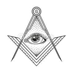 Masonic Square And Compass Symbol With All Seeing Eye , Freemason Sacred Society Emblem For Tattoo Design Art. Isolated Vector Il Stock Vector - Illustration of power, illuminati: 62803999 Masonic Art, Masonic Symbols, Occult Symbols, Line Art Vector, Free Vector Art, Masonic Tattoos, Symbols Tattoos, Freemason Symbol, Ink Art