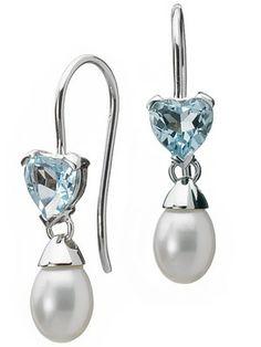 Perles D eau Blanches, Quelque Chose De Bleu, Topaze Bleue, Boucles D 1ae77f9e3a3