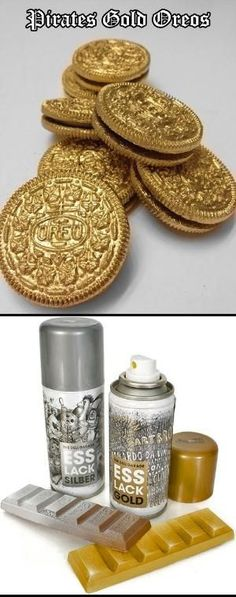 The Chic Technique: Oreos + Edible Gold Food Spray = Pirate Gold Coin Oreos! Pirate's Nightmare in the Caribbean Halloween Party Decorations & Menu Ideas Party Fiesta, Bbq Party, Kindergarten Party, Caribbean Party Decorations, Pirate Party Decorations, Mermaid Birthday Decorations, Pirate Decor, Quinceanera Decorations, Quinceanera Dresses