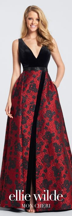 Velvet bodice evening dress. Sleeveless Jacquard gown with front and back deep V-necklines, skirt with velvet trimmed side slit and side pockets.