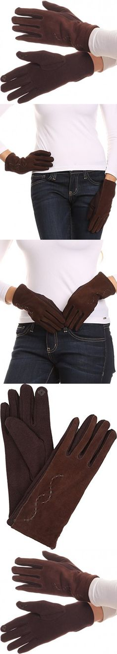 Sakkas 16164 - Lidy Leather Embroidered Comfortable Warm Snow Touch Screen Finger Gloves - Brown - L/XL