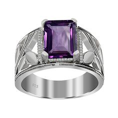 Orchid Jewelry Amethyst & Sterling Silver Emerald-Cut Ring ($29) ❤ liked on Polyvore featuring jewelry, rings, amethyst jewellery, amethyst stone ring, etched jewelry, sterling silver jewelry and emerald-cut rings