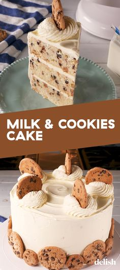 Chocolate Chip Cookie Fans NEED This Milk & Cookies CakeDelishYou can find Cake recipes and more on our website.Chocolate Chip Cookie Fans NEED This Milk & Cookies CakeDelish Dessert Cake Recipes, Delicious Cake Recipes, Best Cake Recipes, Cookie Desserts, Cupcake Recipes, Yummy Cakes, Baking Recipes, Sweet Recipes, Cookie Recipes