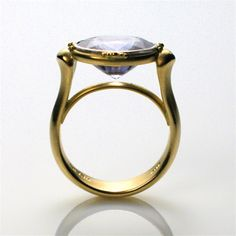 Platform Ring with Oval Blue Sapphire by Caleb Meyer