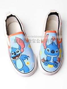 Lilo and Stitch shoes Lilo and Stitch hand painted on shoes,Slip-on Painted Canvas Shoes