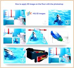 how to apply 3D images on 3D bathroom floor with photoshop