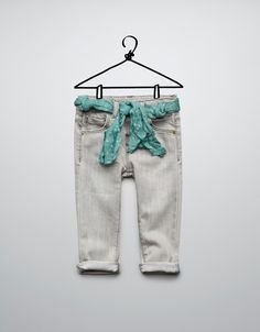 jeans with scarf belt - Jeans - Baby girl (3-36 months) - Kids - ZARA
