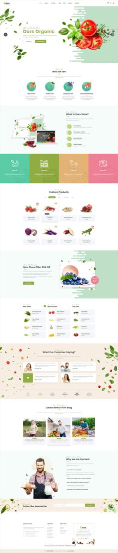 Oars is clean and modern design #PSD template for creative #organic fresh food #shop eCommerce website with 7 homepage layouts and 45 layered PSD files download now..
