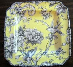 Decorative Dishes - Decorative Plate - Yellow Rose Bird Branch Blossom Square by 222 West Ceramic Plates, Decorative Plates, Bird Branch, Eclectic Wedding, Square Plates, Vintage Plates, China Painting, China Patterns, Shades Of Yellow
