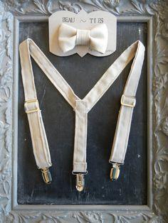 Boys Suspenders Bow Tie set Tan/Beige/Khaki by bearandfoxdesigns