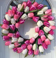 Wreaths For Door Spring Indulgence Tulip Wreath White and Pink Tulips Indoor Outdoor 22 Inch Spring Door Wreath Decorate Easter Mothers Day Will Fit Between Most Storm Doors White Tulips, Pink Tulips, Pink And Blue Flowers, Spring Flowers, Spring Front Door Wreaths, Spring Wreaths, Mothers Day Wreath, Tulip Wreath, Outdoor Wreaths