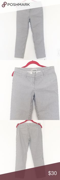 Pinstripe high waist crop pant Rare high quality GAP 100% cotton pinstripe cropped pant, super stylish and perfect for summer! My favorite pant, sad to sell but it became too small for me:( last pic shows the fit, it's a photo from Rag&Bone site so if you want that look (but don't want to pay $295 for the pinstripe pant) go for these. These are excellent condition and quality and will last! Size says 0 but these fit like 2 hence listed as 2. FP for exposure. Free People Pants Ankle & Cropped