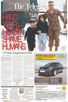 Today's Front Pages | Newseum - The Telegraph (India) on Peshawar attack