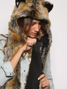 SpiritHoods Official Website   Red Wolf SpiritHood   Faux Fur Red Wolf Hood  