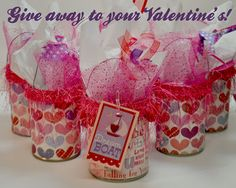 Cute Valentine's Day Candy holders made with cans