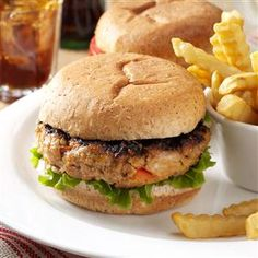 Garden Turkey Burgers Recipe -These moist burgers get plenty of color and flavor from onion, zucchini and red pepper. I often make the mixture ahead of time and put it in the refrigerator. Later, after helping my husband with farm chores, I can put the burgers on the grill while whipping up a salad or side dish. —Sandy Kitzmiller, Unityville, Pennsylvania