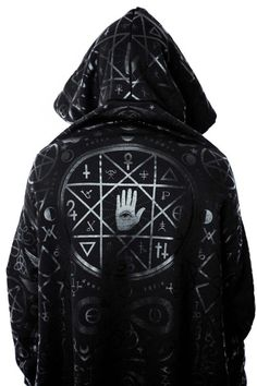 Cult Ritual Hoodie [B] $95.00 NOW $76.99 CULT.  Sensory Overload.  - Long Length Pull-over. - Loose Fit Body with Fitted Sleeve. - Thumbhole-Detailing. - Bold Print. - UNISEX  Whether you're just keepin it chill or chanting in the deep woods - this statement piece will not disappoint. Long length, extra large 'widow'-hood and statement black-on-black print all-over.  with KILLSTAR Branding, 100% Super Soft Cotton.