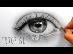Tutorial | How to draw, shade a realistic eye with teardrop - step by step | Emmy Kalia - YouTube