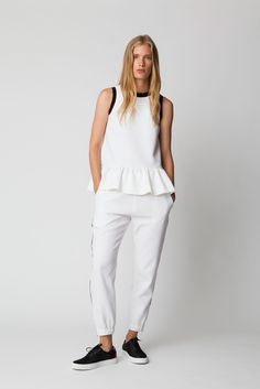 Mother of Pearl | Resort 2015 | 19 White peplum sleeveless top and trousers