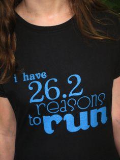 Ladies Marathon Running T Shirt  26.2 Reasons To by SunAndAsphalt, $25.00