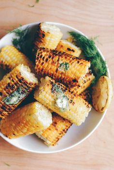 grilled corn with dill butter.