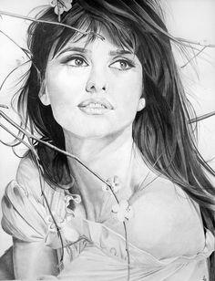 Penelope Cruz by PortraitLc pencil drawing     First pinned to Celebrity Art board here... http://www.pinterest.com/fairbanksgrafix/celebrity-art/ #Drawing #Art #CelebrityArt