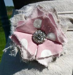 Fabric Flower Pin Drop Cloth & Pink Polka Dot by greenwillowpond, $12.00