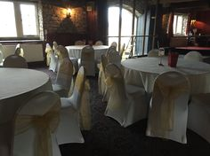 Gold Organza Sashes And Ivory Chair Covers Help Create A Glam New York Theme To