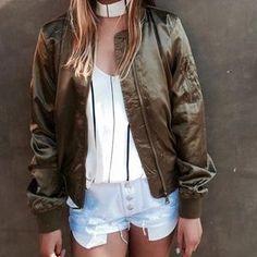 ⬇️ • Khaki/Olive Green & Orange Bomber Jacket