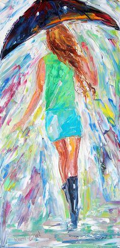 Original oil painting Rain Dance PALETTE KNIFE on by Karensfineart