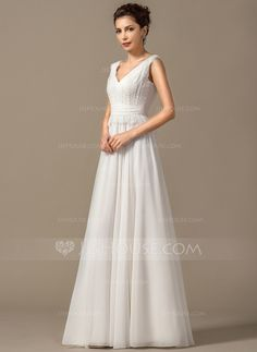 A-Line/Princess V-neck Floor-Length Chiffon Wedding Dress With Bow(s) Cascading Ruffles (002068150)