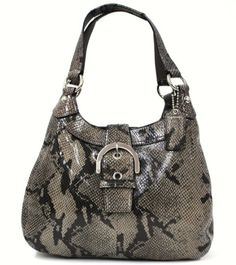 """This beautiful bag is made from beautiful textured and embossed leather with the look and feel of reptile (Snake) skin - the colors are black and gray with a touch of taupe with a shiny reptile-like finish. Approx. 13"""" X 9"""" X 4"""" Straps have 9-10"""" Drop Straps fasten to body of the bag with large bright nickel ring and leather collar with nickel stud detailing with matching leather hangtag is embossed with """"Coach"""" The Interior is Black Fabric divid..."""