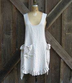 linen jumper pinafore apron dress, via Etsy.