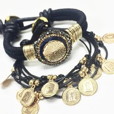 f8dda45d3c98 Set By Vila Veloni Black Collection Bracelets Pulseras Perlas
