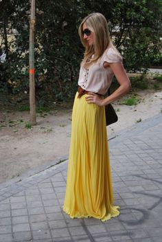 belted long skirt...like this look and the yellow is fabulous! I'm thinking birthday outfit.
