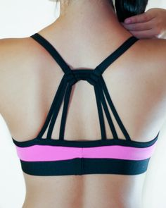 d1062c77b9 Brazilian Workout Top  Pink and Black Apoteose Bra Top - Supplex ® pink    black crisscross back top. Great Support and even better cleavage!