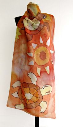 Items similar to Silk beach cover up, sarong, pareo, wrap. Hand painted silk scarf with turtles and flowers in orance and brown. on Etsy Hand Painted Dress, Painted Clothes, Painted Silk, Orange And Blue Dress, Yellow And Brown, Orange Yellow, Dress Painting, Silk Painting, Chiffon Scarf