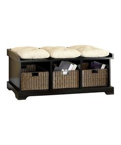 Take a look at this Black Entryway Storage Bench Set by Furniture of America on #zulily today!