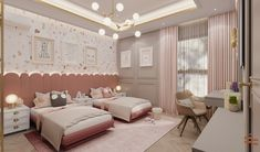 Designing kid's spaces to the next level? Here's a sophisticated and elegant Interior design transformation of a kid's bedroom, with terrazo wall, pink accents, and classic elements. Modern Luxury Bedroom, Luxurious Bedrooms, Empire Design, Modern Crib, Kids Bedroom Designs, Residential Interior Design, Kid Spaces, Modern Classic, Girls Bedroom