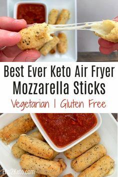 Air Fryer Recipes Keto, Air Frier Recipes, Air Fryer Dinner Recipes, Low Carb Recipes, Diet Recipes, Healthy Recipes, Air Fryer Recipes Mozzarella Sticks, Healthy Mozzarella Sticks, Egg Recipes