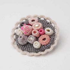 Small crochet brooch coral collection by ELIN grey and by elinart, Crochet Brooch, Freeform Crochet, Crochet Art, Crochet Flowers, Fabric Flowers, Crochet Necklace, Fabric Brooch, Yarn Bombing, Brooches Handmade