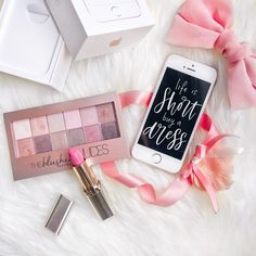 Pink iphone, fashion, lipstick, girly flatlay