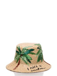 Kate Spade I Need A Vacation Cloche Hat, Natural Raffia Painted Hats, Raffia Hat, Hat Embroidery, Embroidered Hats, Summer Hats, Sun Hats, Caps Hats, Hats For Women, Fashion Accessories
