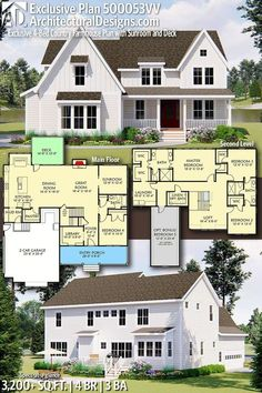 Architectural Designs Exclusive Country Farmhouse Plan 500053VV with 4 Bedrooms 3 full baths in 3,200+ Sq Ft. Ready when you are! Where do YOU want to build? #500053VV #adhouseplans #architecturaldesigns #houseplans #architecture #newhome #newconstruction #newhouse #homedesign #homeplans #architecture #home #farmhouse #country #exclusive