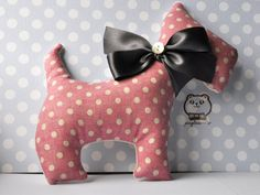 Handmade Scottie Dog in Floral Spotty Fabric Home by pinglemonster