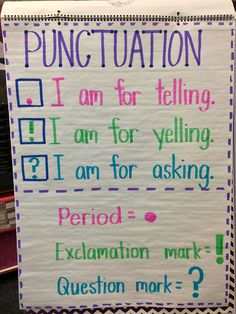 Easy to understand punctuation Anchor Chart for kindergarten or first grade