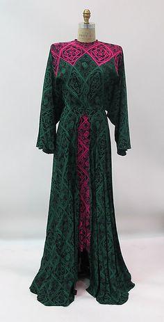Dress, Designer: Gilbert Adrian (American, Naugatuck, Connecticut 1903–1959 Hollywood, California) Date: 1942–52 Culture: American Medium: silk, metal, synthetic