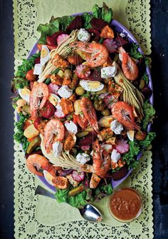 The ultimate salad! This one with shrimp. Guatemalan Composed Salad (Fiambre)
