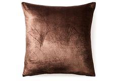 Fiona 20x20 Velvet Pillow, Brown on OneKingsLane.com