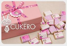 Cajas personalizadas con chocolates de Cukero Papelería.